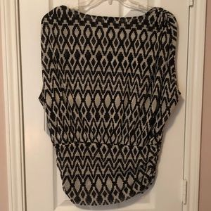 ALFANI Trans Atlantic Black/White Pattern Blouse